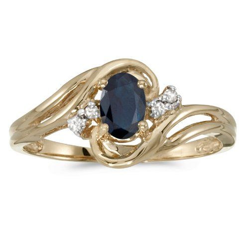 1ba0c0cd41b This 10k yellow gold oval sapphire and diamond ring features a 6×4 mm  genuine natural sapphire with a 0.39 ct total weight. (Size 5.5) Features  Beautiful ...