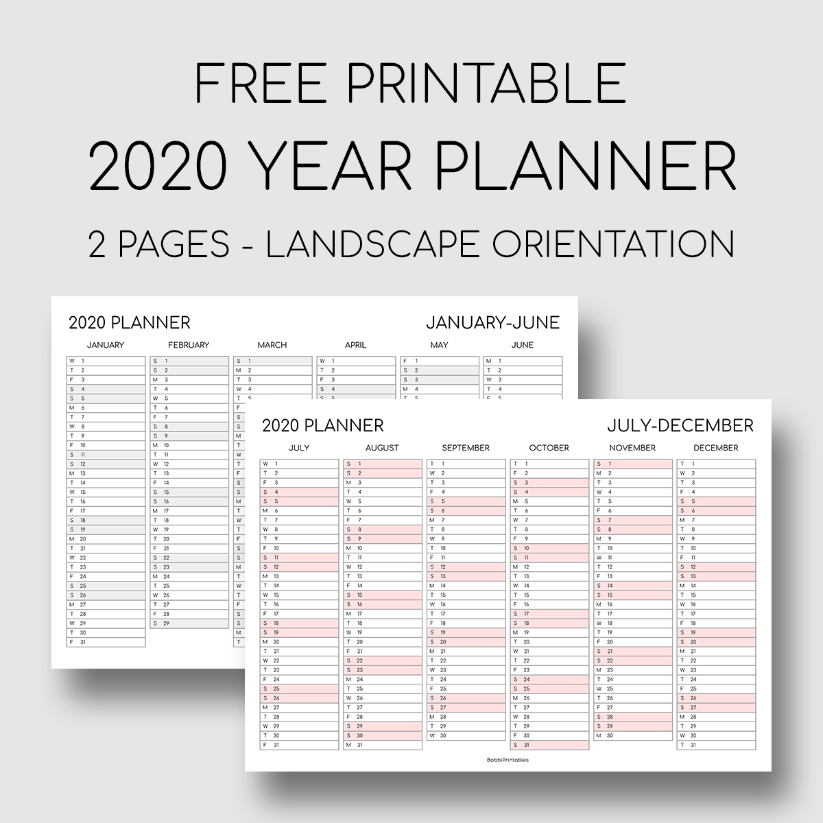 Printable 2020 Year Planner Two Pages Landscape Orientation In 2020 Yearly Planner Planner Printables Free Planner