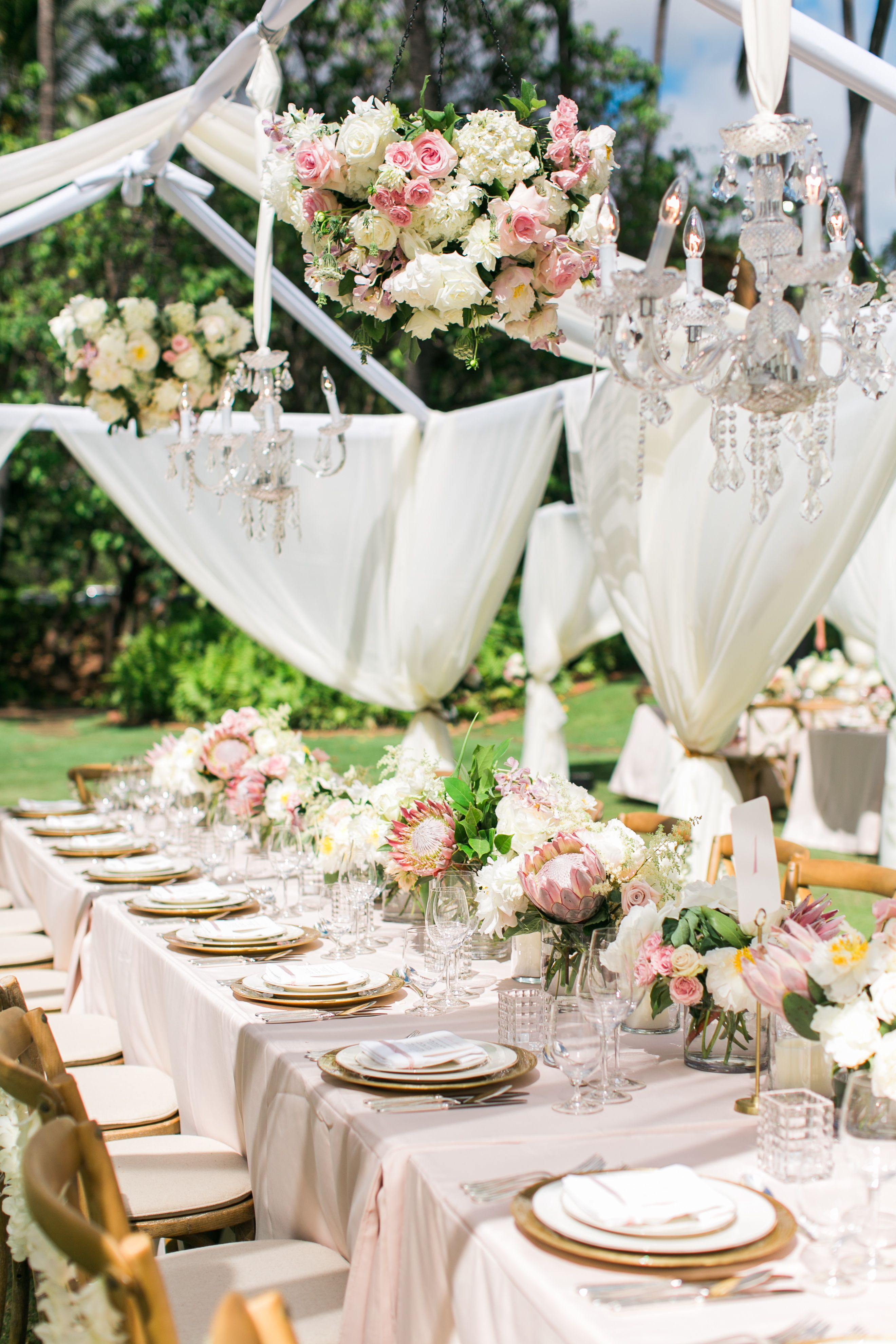Dreamy Wedding Details by Moana Events...Chandeliers, Hanging Blooms ...