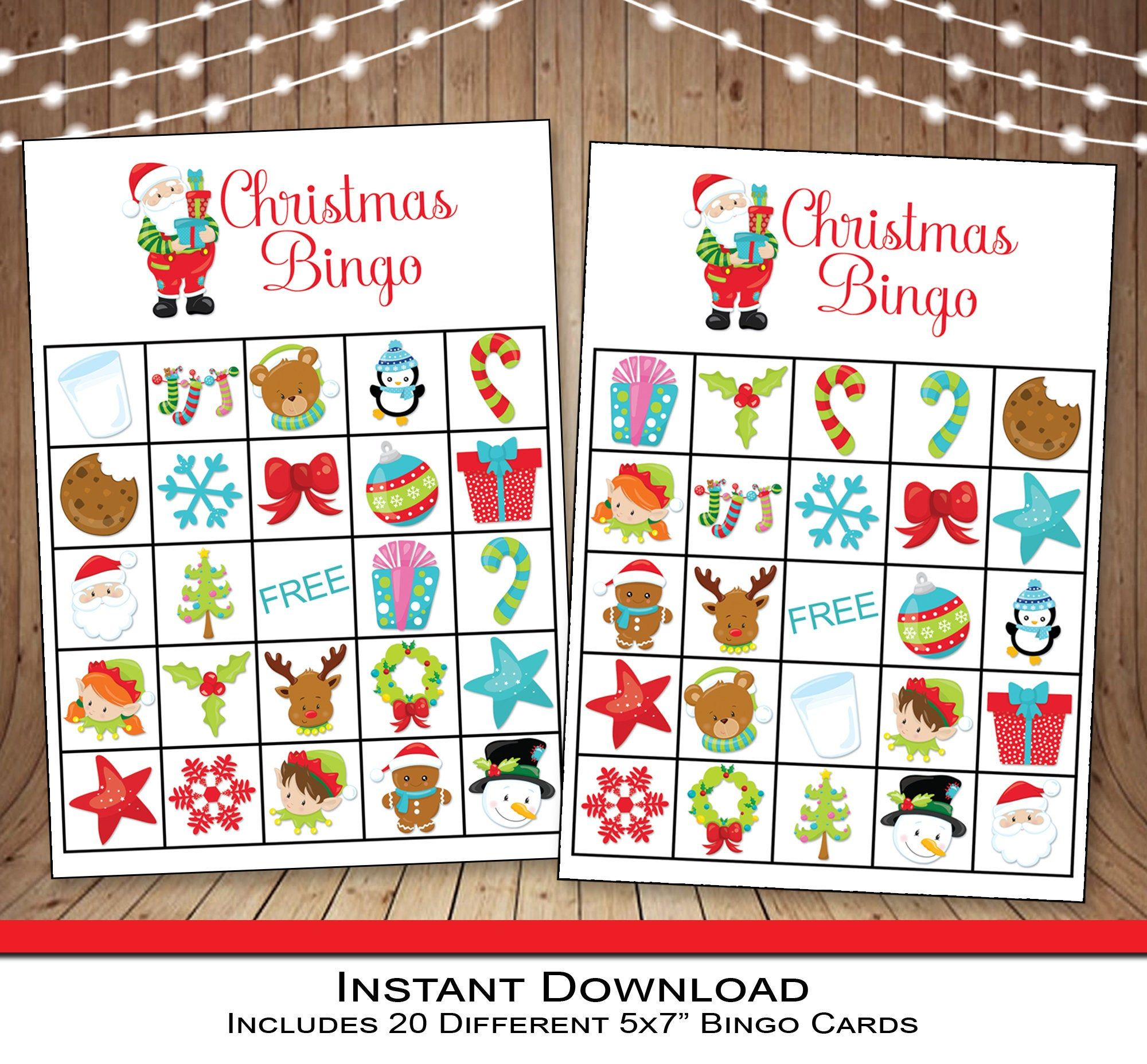 Christmas Bingo Party Game Instant Download 20