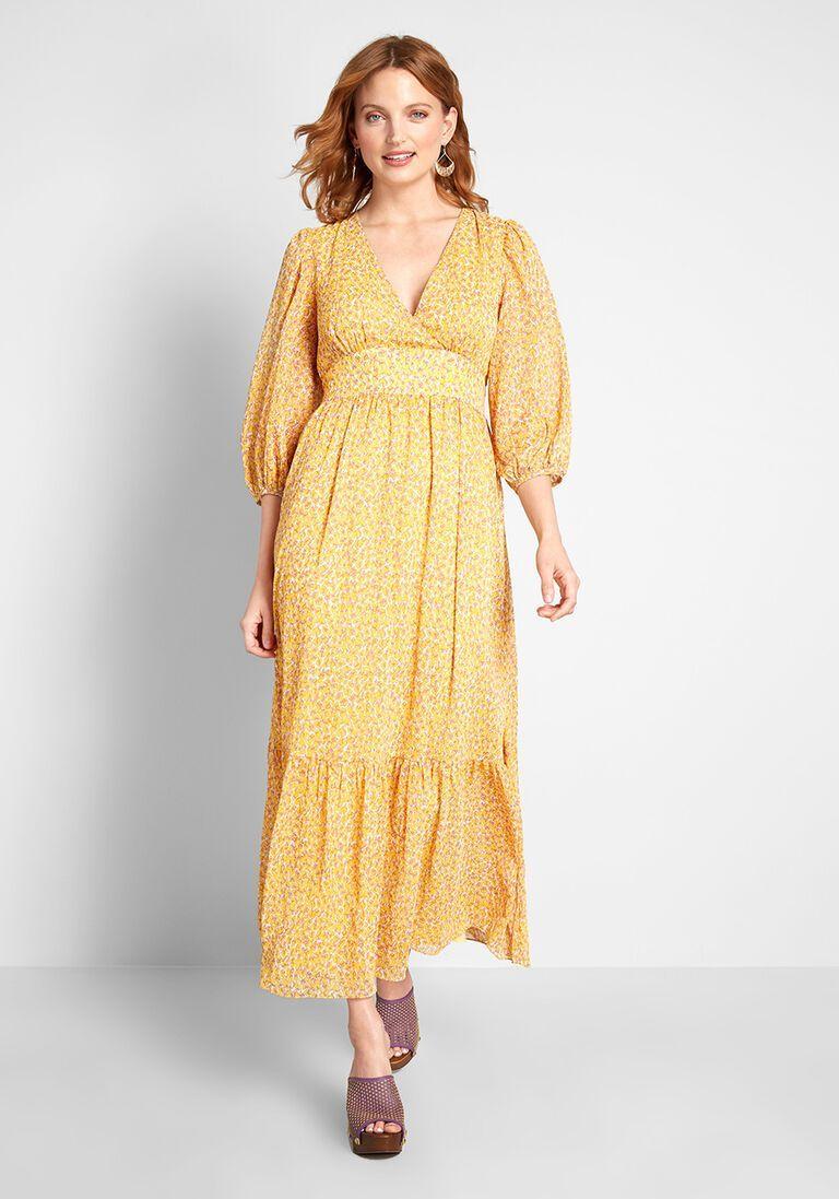 70s Dresses Yellow Peasant Maxi Dress Yellow Maxi Dress Disco Dress [ 1097 x 768 Pixel ]