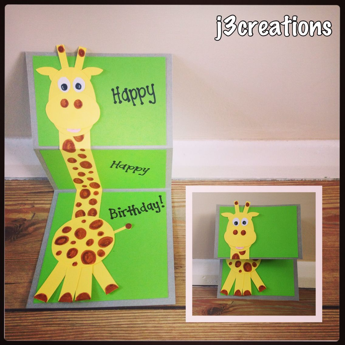 The Cutest Ever Giraffe Card I Created For A Soon To Be 4 Year Old Boy So Cute Birthdaycard J3creations
