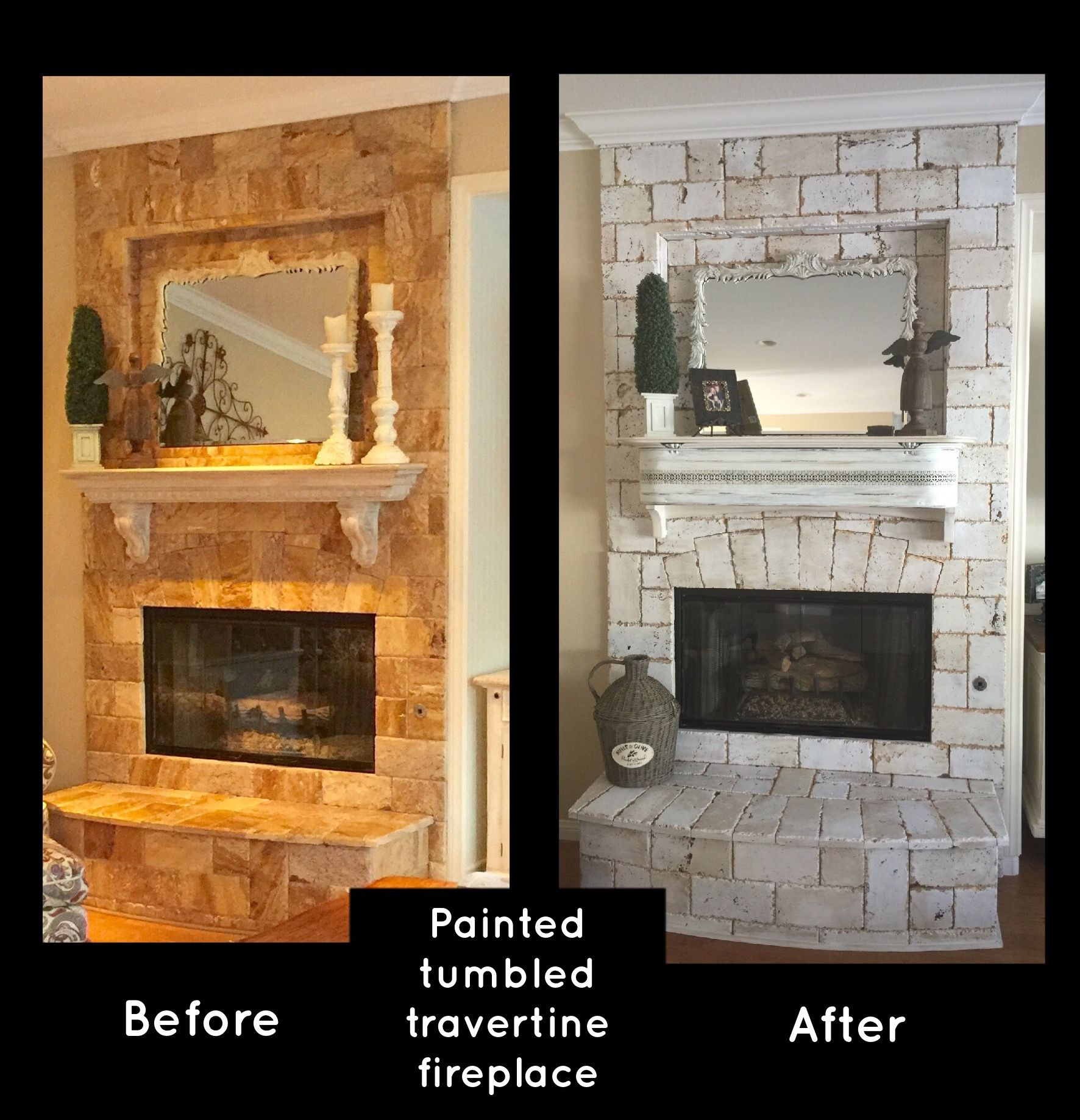 painted tumbled travertine fireplace used white flat paint with a
