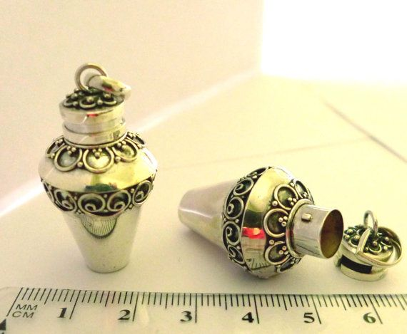 Sterling Silver Ash Urn poison Perfume bottle by DiscountBeadStore