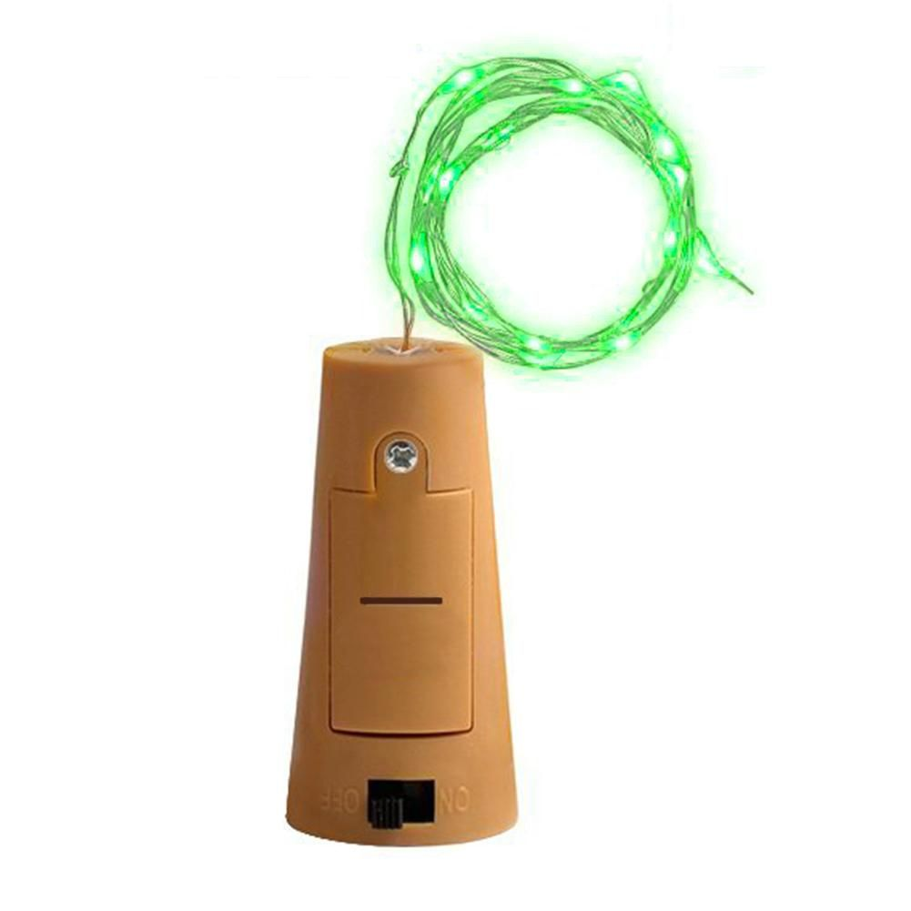 Photo of 15/20 LED Wine Bottle Cork Lights Silver Wire for Wedding Festival Party Decor – Green / 1 point 5M