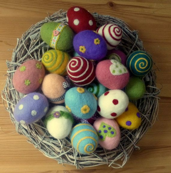 Felt easter eggs Set of 6 eggs #howtomakeabowwithribbon