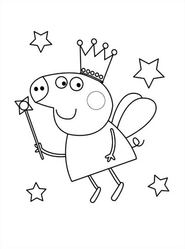 Peppa Pig The Good Fairy Coloring Page Coloring Sky Peppa Pig Colouring Peppa Pig Coloring Pages Fairy Coloring Pages