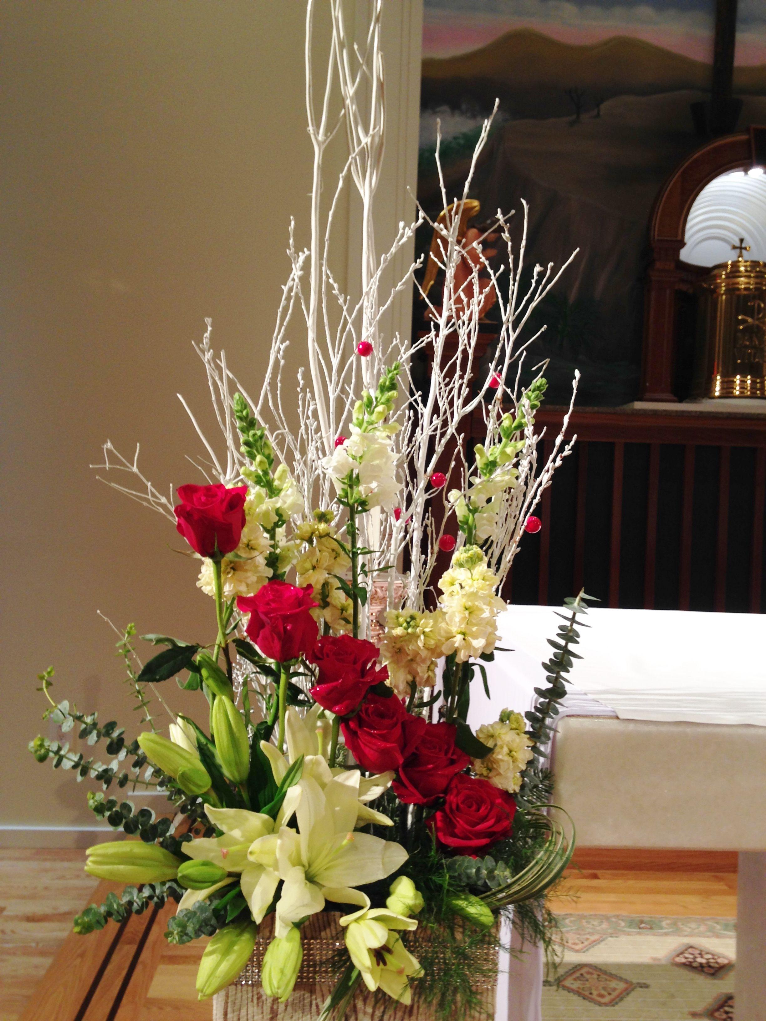 Church Flowers … Unique flower arrangements, Christmas