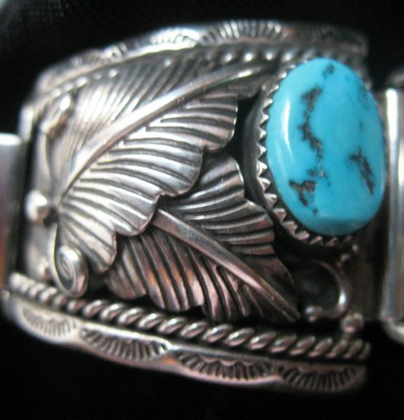 Mens Navajo Native American Sterling Silver Turquoise Watch Band