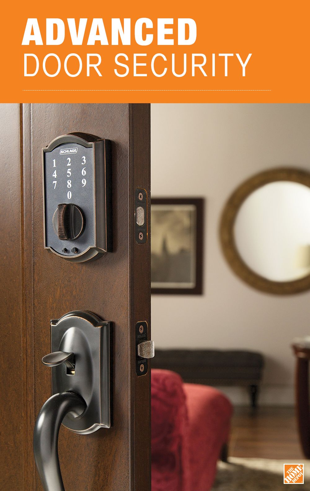 Schlage Camelot Aged Bronze Touch Electronic Door Lock Deadbolt Be375 Cam 716 Home Safety Home Remodeling Home