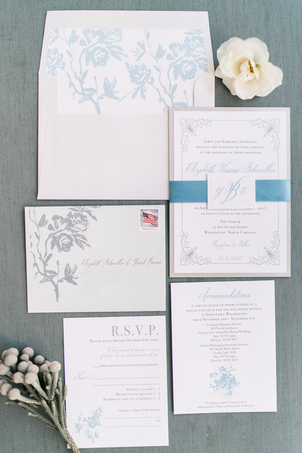Dusty Blue North Carolina BL Real Wedding | Dusty blue, Rose gold ...