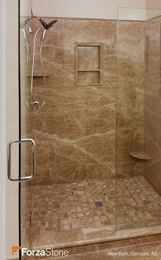 What a great looking shower! Forzastone Natural Stone panels in this ...