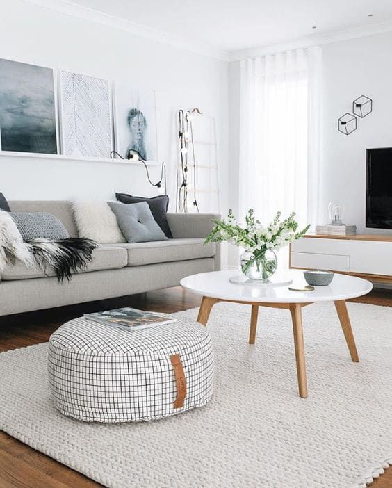 Minimalist White Living Room Decor With Blue Accents