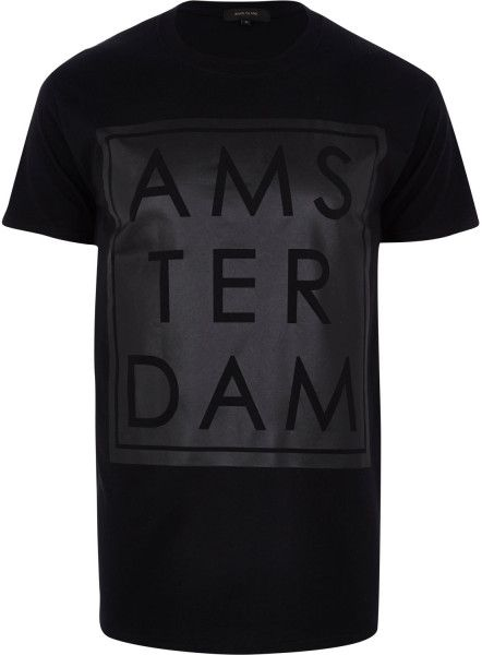 Love this: Black Amsterdam Matte Front Print Tshirt @Lyst | Art to ...
