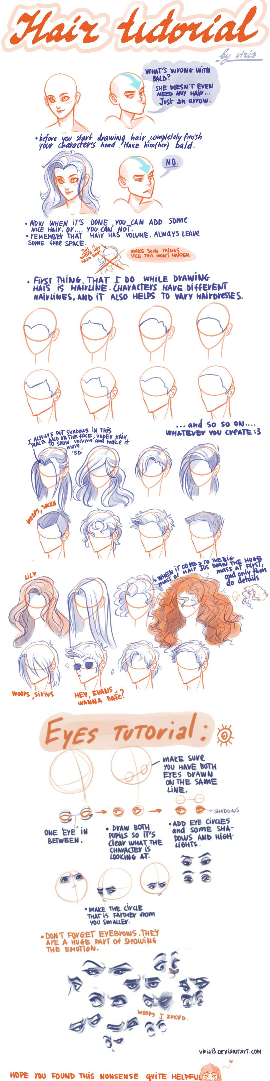 Anime Character Design Tutorial : Hair eyes tutorial character design references キャラクター