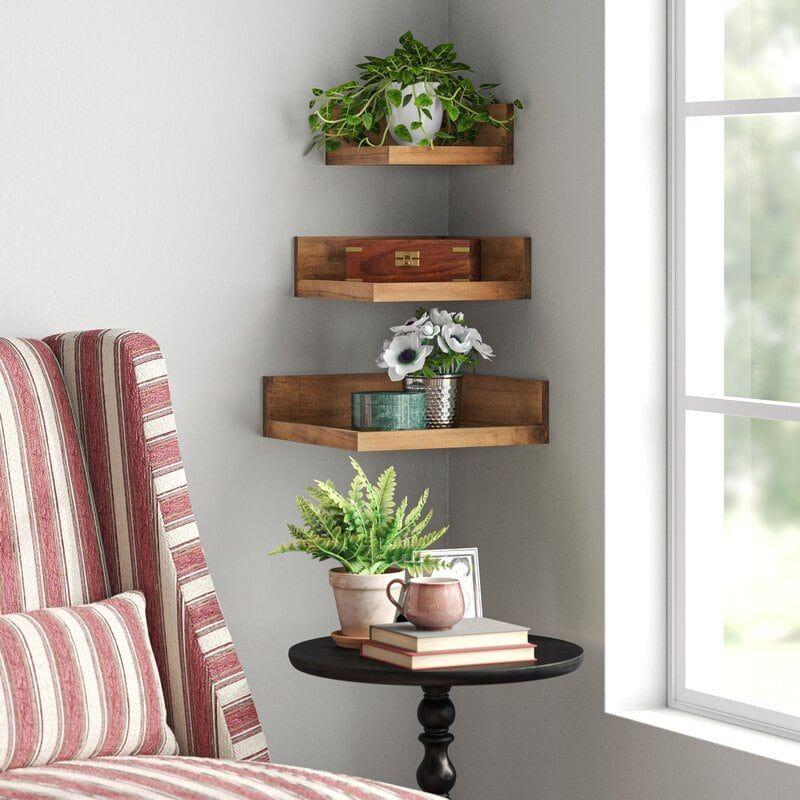 30 Corner Shelf Ideas To Help You Fill That Awkward Space Wall Shelves Corner Shelf Ideas Decor