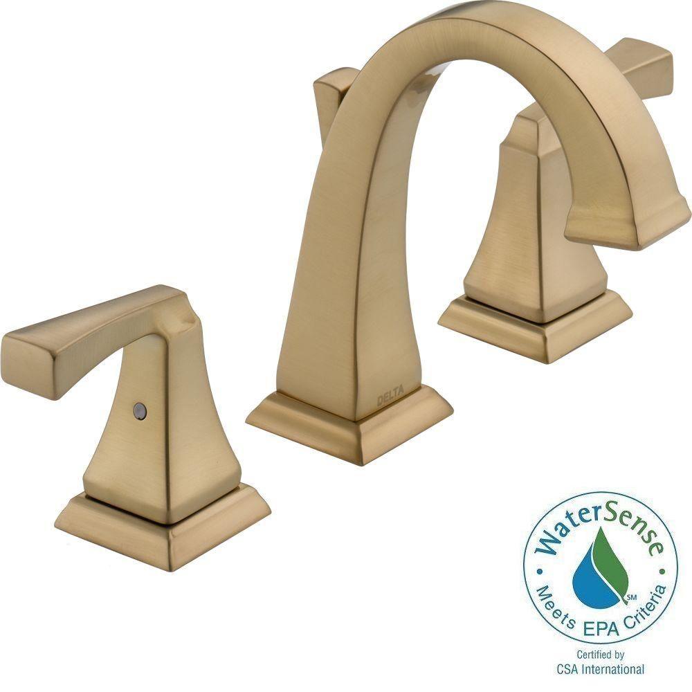 Delta Dryden In Widespread Handle HighArc Bathroom Faucet In - Champagne bronze bathroom faucet for bathroom decor ideas