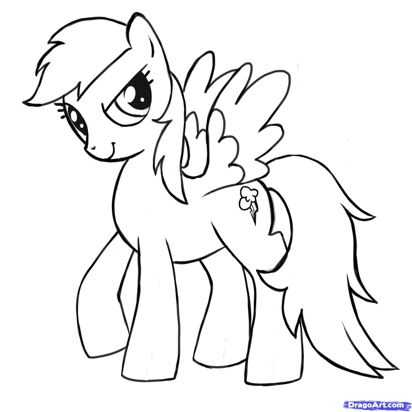 Mlp Printable Coloring Pages How To Draw Rainbow Dash My Little