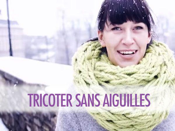 tricoter une echarpe avec les bras en 30 minutes