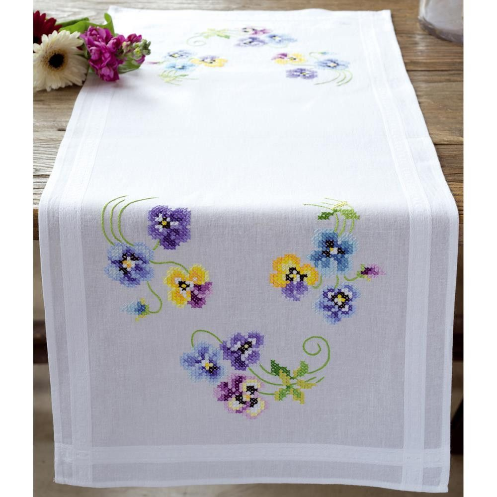 Pretty Pansies Table Runner Stamped Embroidery Kit 16x40