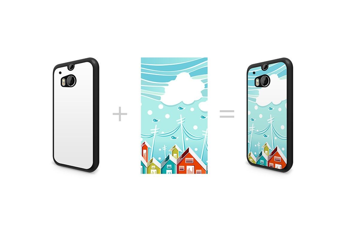 Htc one m8 case design mockup for 2d sublimation printing