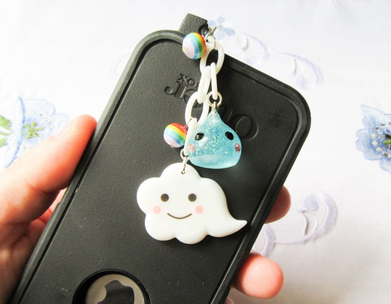 Kawaii Cloud Phone Charm, Dust Plug, Kawaii, Cute, Cloud