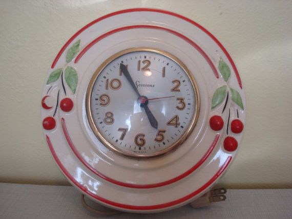 Incredibly 1950's Antique Kitchen Clock with Cherries by ...