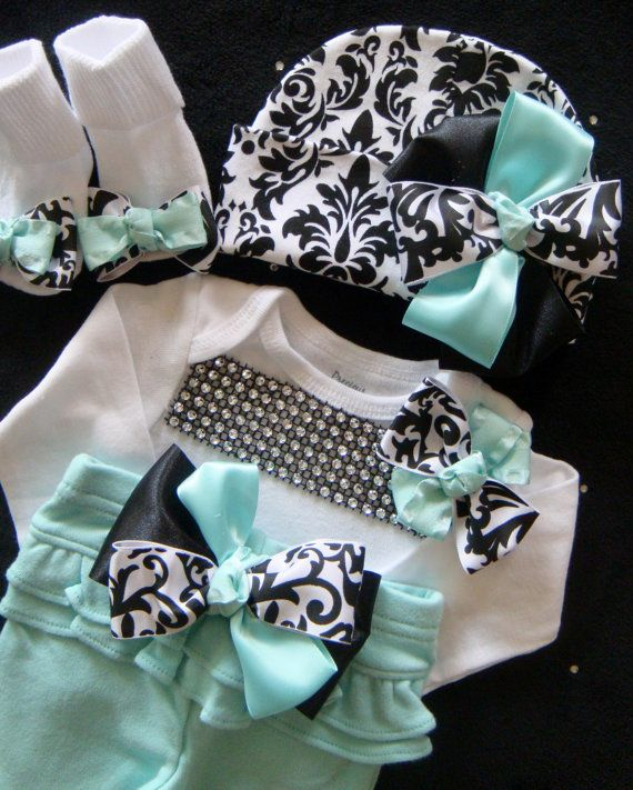 NEWBORN baby girl take home outfit shirt pants socks beanie hat MINT damask rhinestone on Etsy, $50.00