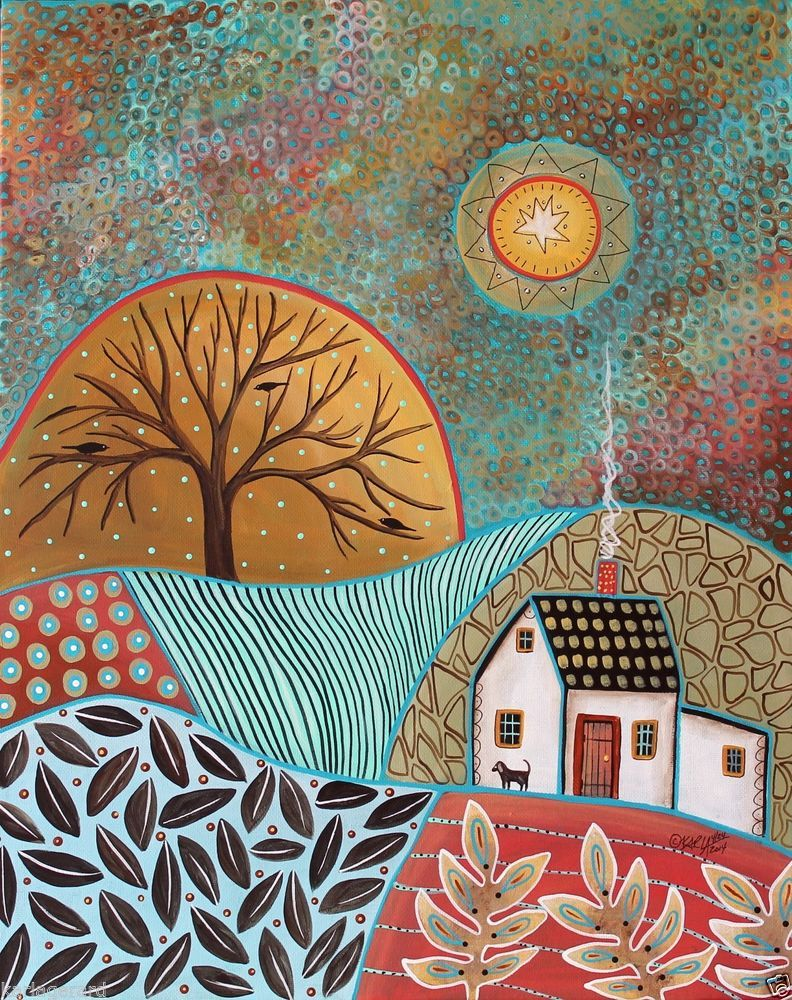 Pastoral Landscape CANVAS PAINTING 16x20 inch DOG ABSTRACT FOLK ART PRIM Karla G...new painting for sale, just added to my store...