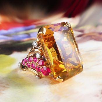 f5ff98583d894 Vintage Retro Estate 1940's Citrine Ruby Diamond Cocktail Birthstone ...
