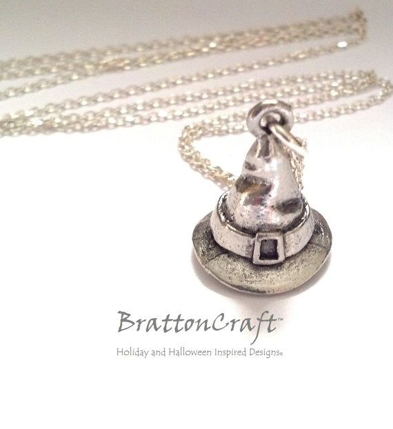WIZARD HAT FINE PEWTER PENDANT CHARM 13x17x13mm WITCH
