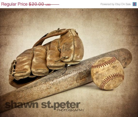 ON SALE Vintage Baseball bat and glove 8x10 print by shawnstpeter, $15.00