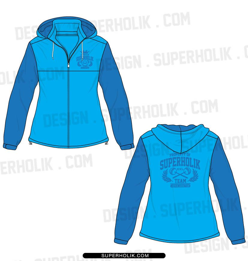 hooded varsity jacket template set model flat fashion vector