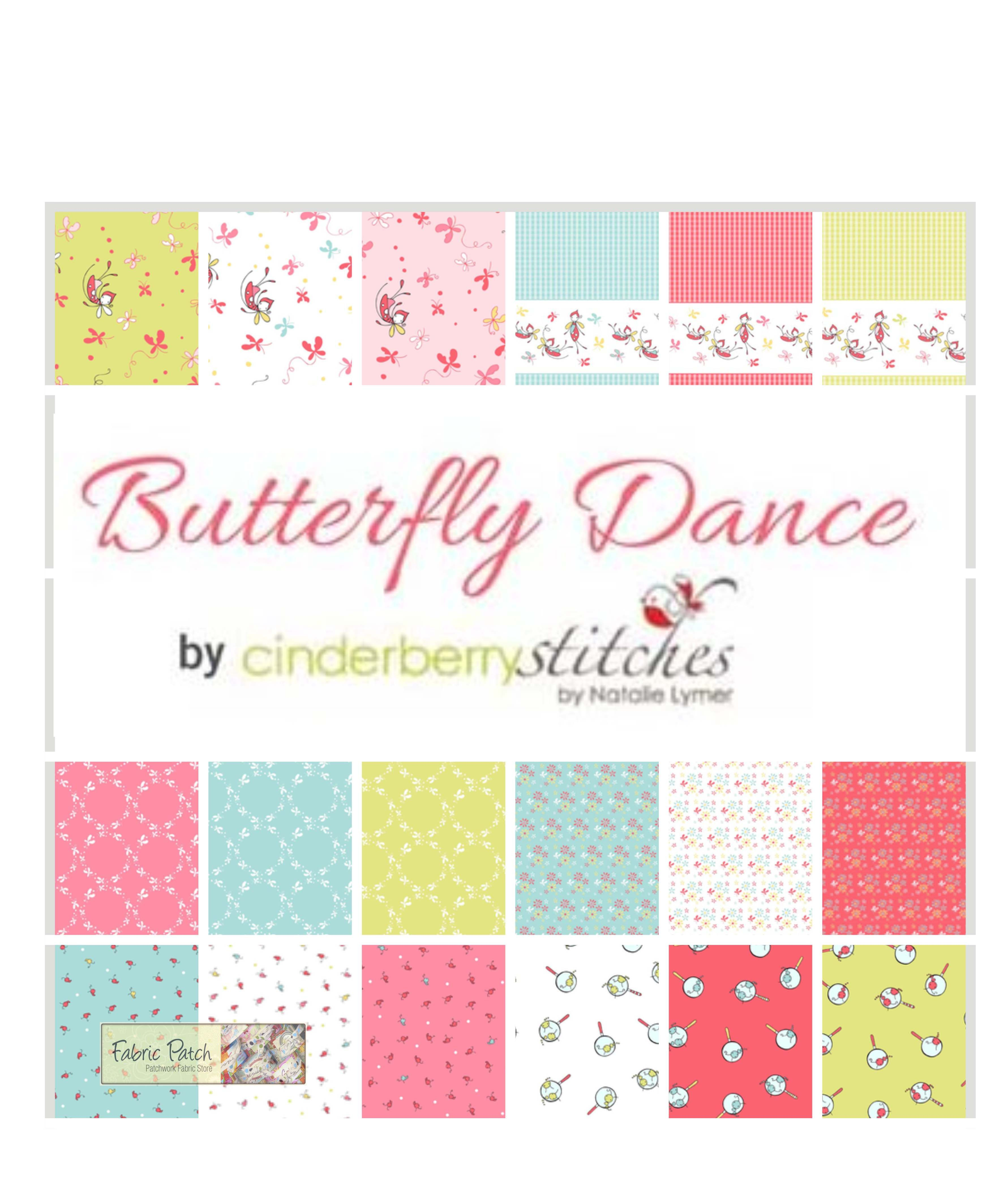 Butterfly Dance Rolie Polies/Jelly Rolls, Cinderberry Stitches for Riley Blake Fabrics -  Applique, patchwork and quilting fabrics.