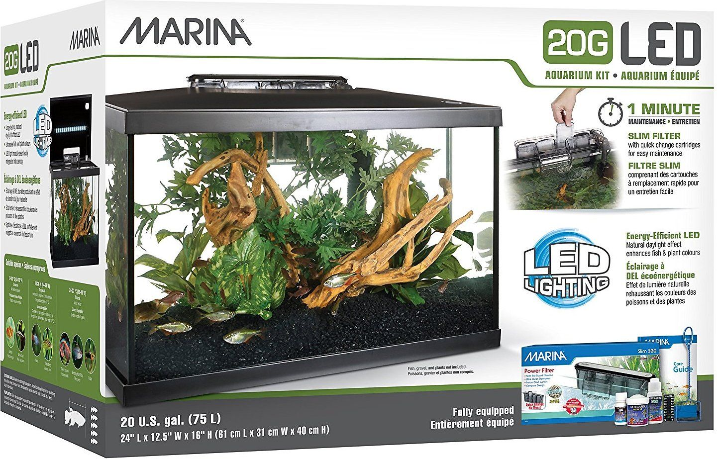 Marina Led Aquarium Kit 20 Gal Chewy Com Aquarium Kit Aquarium 20 Gallon Aquarium