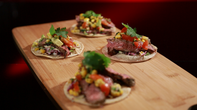 Beef Tortillas with Avocado Salsa and Lime Chilli Mayonnaise