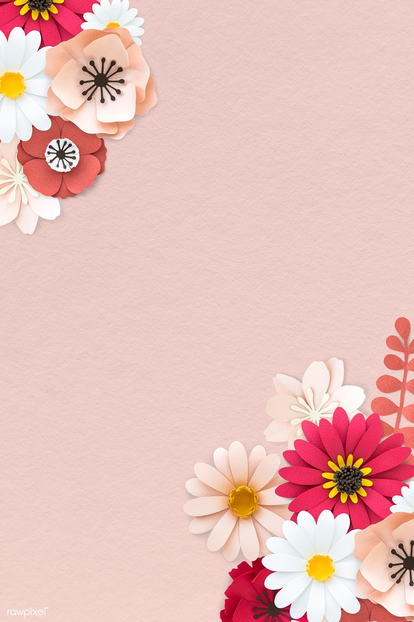 Download Premium Psd Of Pink Paper Craft Flower On Pink Background Flower Backgrounds Paper Background Texture Flower Crafts