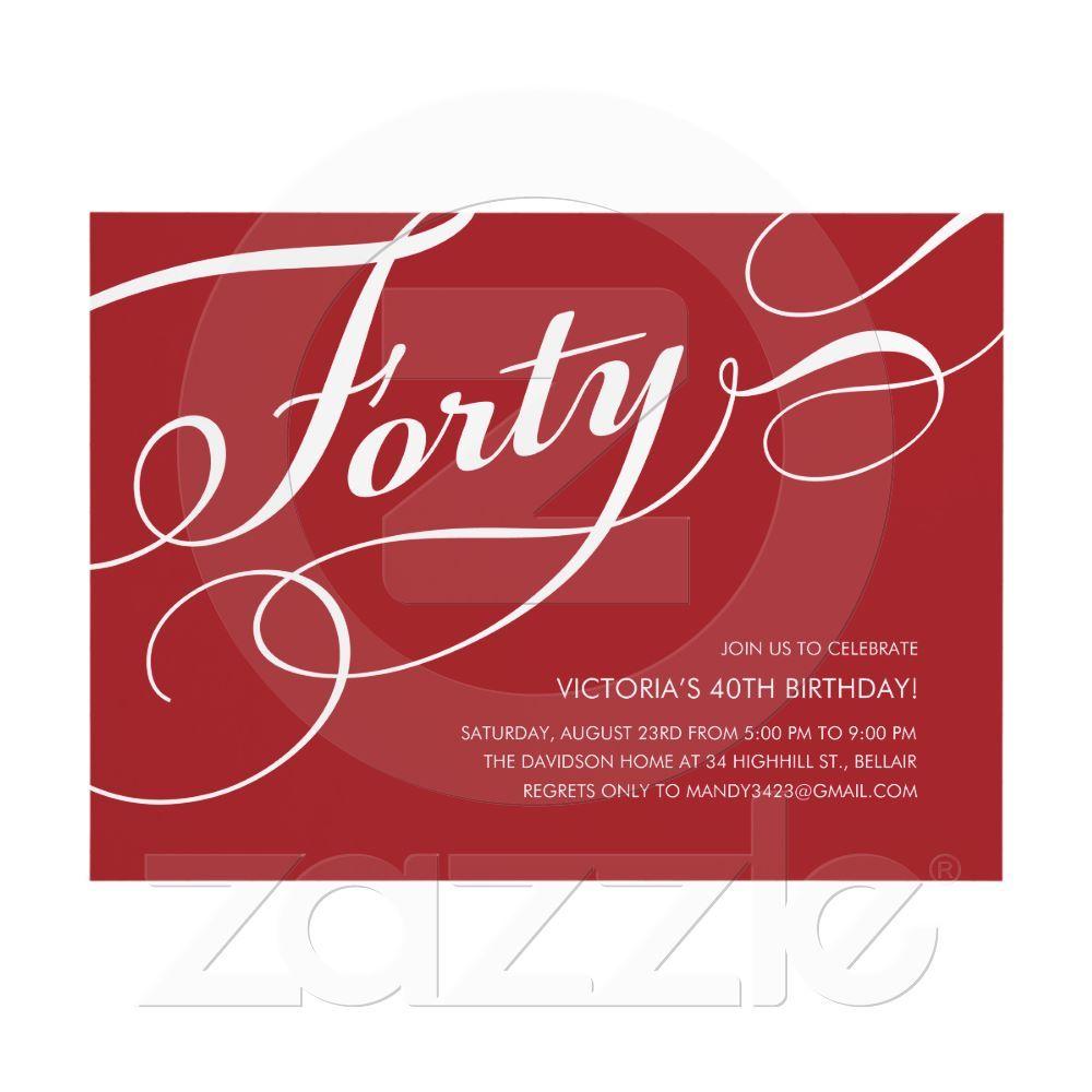 Fancy Elegant 40th Birthday Invitations Adornment - Invitations and ...