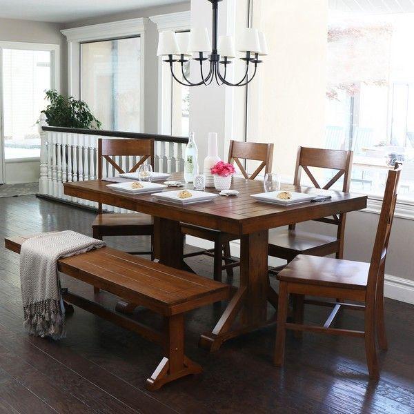 6-Piece Antique Brown Wood Dining Set