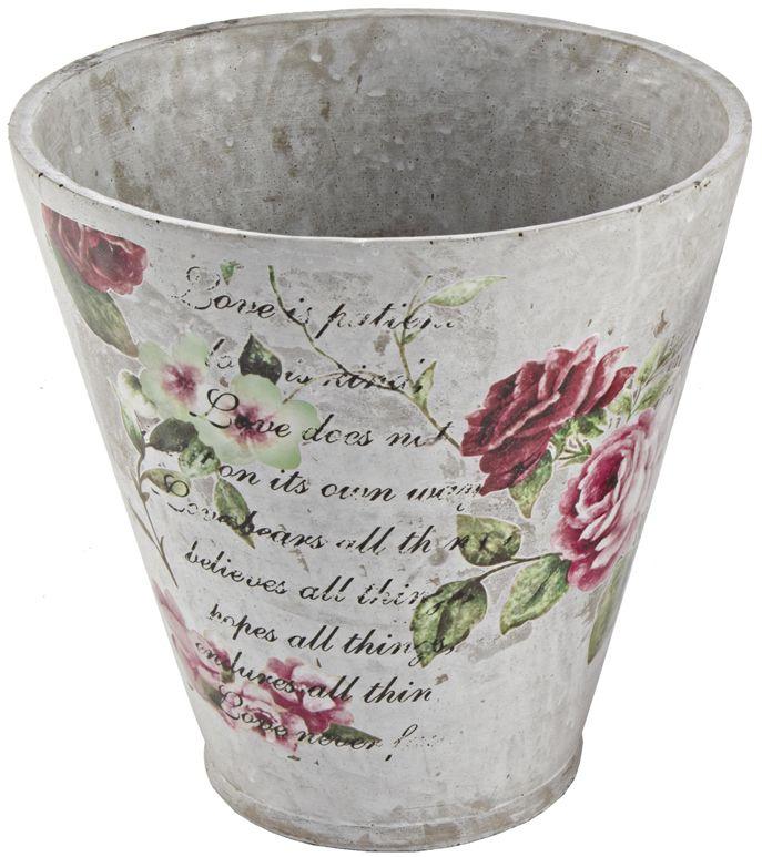 Set di 2 vasi in stile shabby chic realizzati in cemento