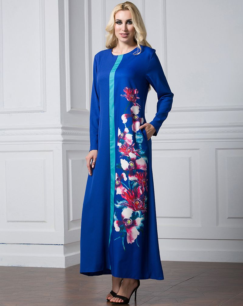 2acaa40a1078c6 Elegant islam ladies flower girl dress muslim round neck royal blue red  black Floral printing long sleeve maxi dress muslim