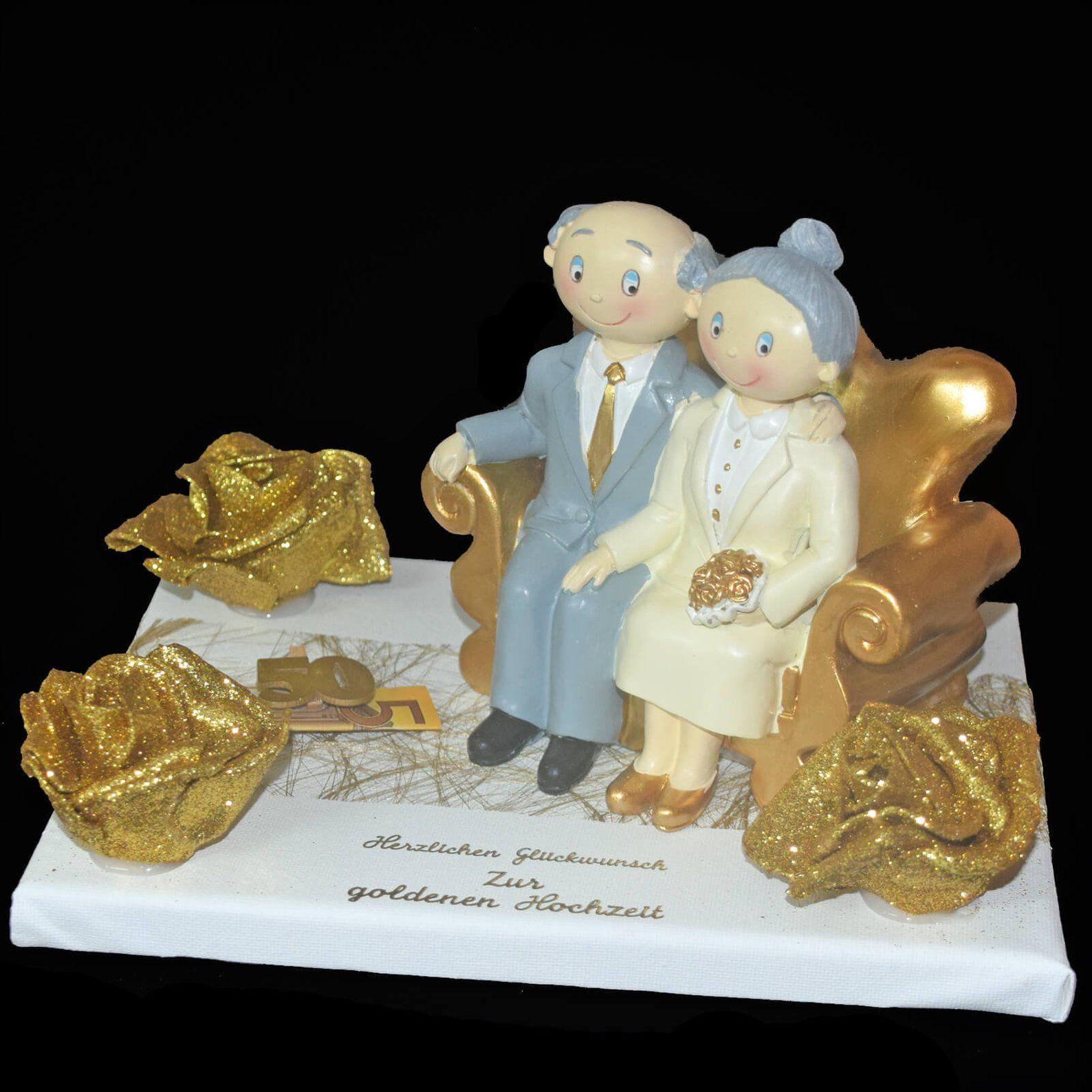 Gift To The Golden Wedding Gold Pair On Gift Plate Deko