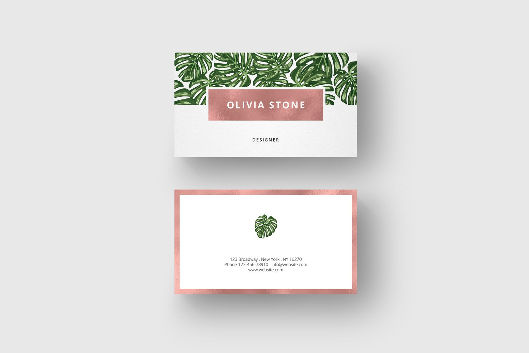 Business Card Monstera Rosegold 8 00 Crella Font
