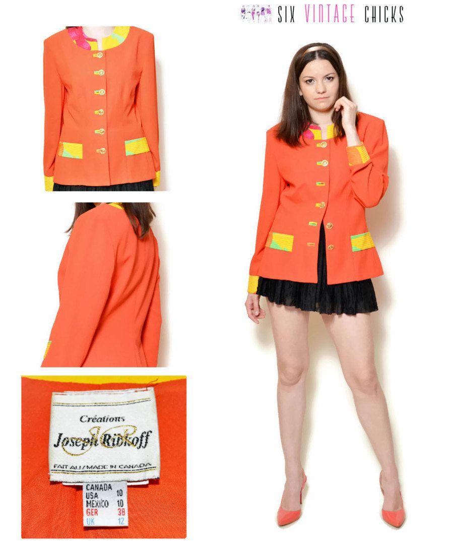 Mod jacket 80s pin up woman orange ladies patterned mandarin ...