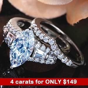 DiamondAura Matrimony Marquise Ring (4 CTW)