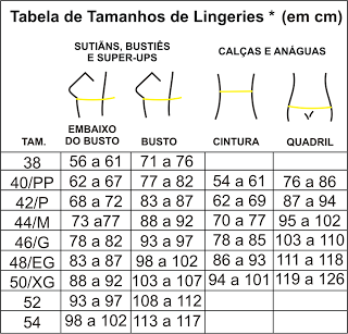 9facdafda tabela de medidas lingerie