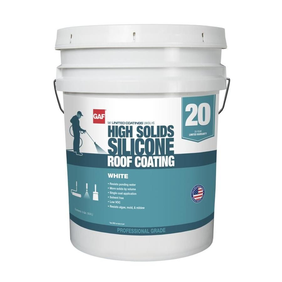 Gaf United Coatings 5 Gallon Silicone Reflective Roof Coating 20 Year Limited Warranty Lowes Com In 2020 Roof Coating Rubber Roof Coating Roof