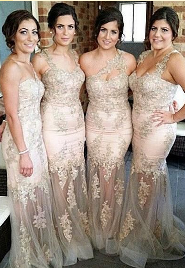 Champagne Lace Bridesmaid Dresses
