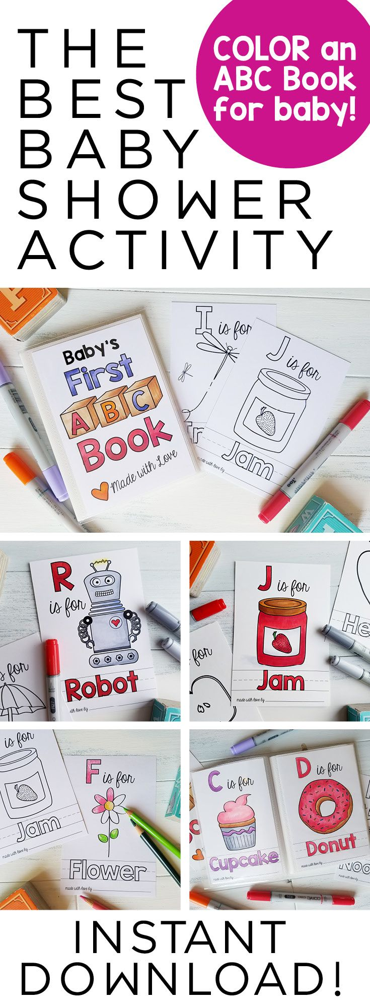 Abc Book Baby Shower Activity Personalized Alphabet Coloring Etsy Baby Shower Book Baby Shower Activities Shower Activity
