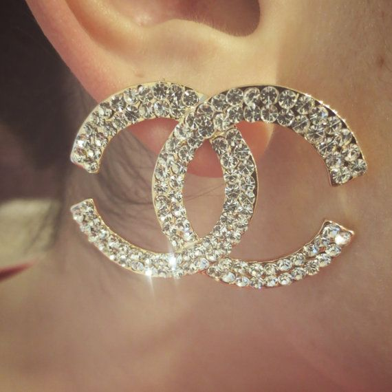 Large Rhinestone Monogram Chanel Inspired Earrings By Sovirgo On